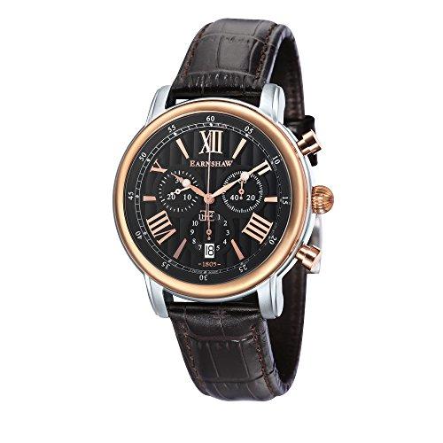 Thomas Earnshaw Longcase 43 ES-0016-0C Montre à quartz pour homme Avec cadran noir à affichage chronographe et bracelet en cuir marron