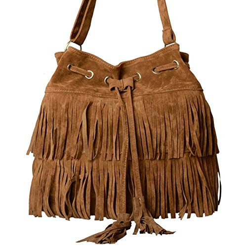 Zleimjab Langlebig Frauen Fransen Quaste Umhängetasche Faux Wildleder Messenger Cross Body Bag Handtasche Mode Hohe Qualität (Color : Brown, Size : M) -