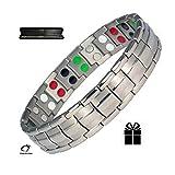Silber Double Stärke Titanium Magnetic Armband für Männer + Plus Samt Geschenk-Box - Arthritis Armband | Golf Armband