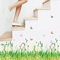 ufengke home Green Grass Meadow Wall Art Stickers With Red Flowers and Butterflies Colourful Removable DIY Vinyl Wall Decals Multicoloured Decorative Mural for Living Room, Bedroom, Baseboard