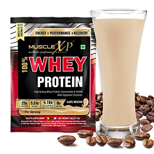 MuscleXP 100% Whey Protein 1 Serving - Cafe Mocha With Digestive Enzymes  available at amazon for Rs.175