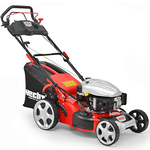 HECHT Benzin-Rasenmäher 548 SWE Benzin-Mäher. (3,7 kW (5,0 PS), Elektro-Start Funktion, Schnittbreite 46 cm, 60 Ltr Fangkorb, 7-fache Schnitthöhenverstellung 25-75 mm, Radantrieb)