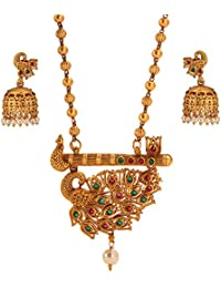 Tandra's Fashion Matt Gold Brass Peacock Necklace Set For Women And Girls