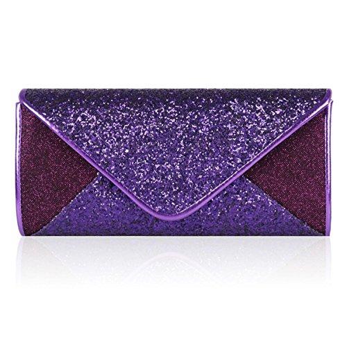 Damara® Damen Glitzernde Strass Pailletten Handtasche Violett