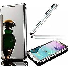Huawei P9 Funda Libro, Vandot Carcasa Case Cover para movil Huawei P9 Funda Tapa Claro Ver Espejo Dar la vuelta Inteligente Caso Cubrir + 1x Aguja/Lápiz Táctil, Plata