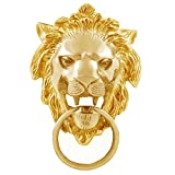 Autofy Brass Lion Face with Ring Badge for All Bikes (Gold)