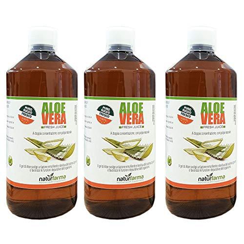 3X Aloe Vera Puro Succo Fresco 100% a Doppia Concentrazione ad Azione Depurativa 1000 ml con misurino