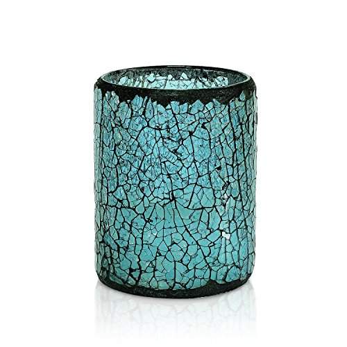 GiveU Blue Crack Mosaic Glass Flameless Pillar Led Wax Candle with Timer,3X4, for Home Decor, Valentine's Day and Awesome Gifts(Tiffany Blue)