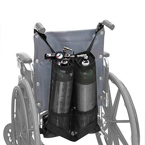 Sauerstoff Rollstuhl (SHKY Dual Oxygen Tank Carrier - Zylindertaschen für Rollstühle, für Medizin, Zuhause, Krankenhaus, Zubehör Rollstuhl, für D & E-Zylinder)