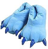 LANFIRE Zapatillas de casa de Felpa Suave Unisex Animal Disfraz de Pata de Garra (M (35-39 /EUR), Azul(Blue))