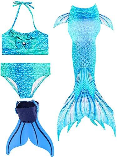 SPEEDEVE Mädchen Meerjungfrauenschwanz Zum Schwimmen mit Meerjungfrau Flosse, 12 (130-140cm), Dh-blau (Kurz Schwimmen Flossen)