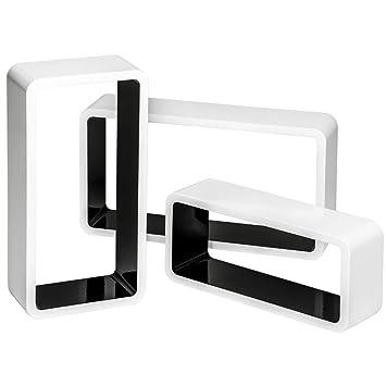 Hängeregal weiß holz  ZEARO 3er Set Wandregal Cube Regal, MDF Holz, Lounge Retro Cube ...