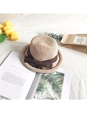 LVLIDAN Sombrero para el sol del verano Dama SolAnti-sunshinestrawhat rosa plegable