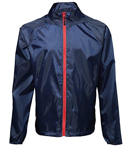 2786 Mens Contrast Lightweight Showerproof Jacket Navy/ Red