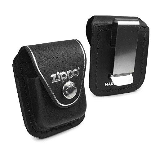 Preisvergleich Produktbild Zippo Personalisierte Tasche Hülle (z.B Ihr Name, andere Name, Inschrift) briquet -Kasten - echtes Leder-Schwarz