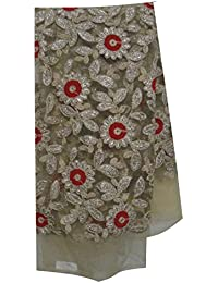 Kurti Material Blouse Fabric Beige tan net red silver gold embroider unstitched blouse sleeve