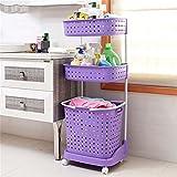 CRS-ZBBZ Haushaltsgegenstände Badezimmer Regale 3 Stufen Aufbewahrungsboxen Toilettenpapier Plastikbekleidung Körbe mit Rädern beweglich, lila
