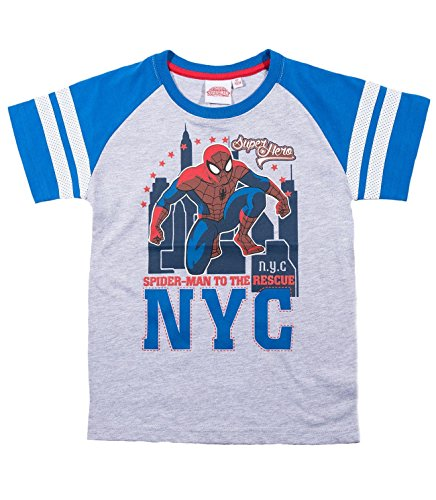 Spiderman T-Shirt Kollektion 2018 Shirt 98 104 110 116 122 128 134 140 Kurz Jungen Sommer Neu Marvel Ultimate Amazing Blau (Grau-Blau, 140)