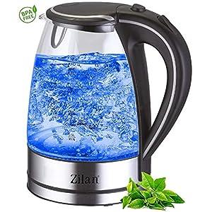 Wasserkocher Edelstahl Glas   1,7 Liter   2000W   Blaue LED Innen-Beleuchtung   360 Grad   Kalkfilter, BPA frei   Kettle   Wasseraufbereiter   Teekocher   Wasserkessel   Glaswasserkocher  