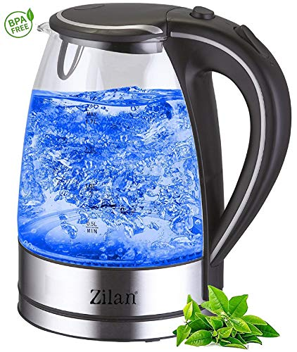 Wasserkocher Edelstahl Glas | 1,7 Liter | 2000W | Blaue LED Innen-Beleuchtung | 360 Grad | Kalkfilter, BPA frei | Kettle | Wasseraufbereiter | Teekocher | Wasserkessel | Glaswasserkocher |