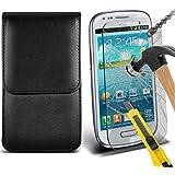 Fone-Case ( Black ) Samsung galaxy S3 Mini étui Cover Case Brand New Luxury Cuir Side Faux PU Vertical Pull Tab Pouch Housse de la peau avec Protecteurs d'écran en verre trempé Crystal Clear LCD