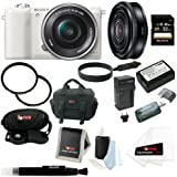 Sony Alpha (ILCE-5100L/W ILCE-5100LW ILCE-5100) 24MP 16-50mm Interchangeable Lens Camera With 3-Inch LCD (White) + Sony SEL20F28K1 E 20mm F2.8 E-mount Prime Lens + Sony 32GB SD Card + Wasabi Power NP-FW50 Battery And Charger + Two Tiffen UVP Filters + Del
