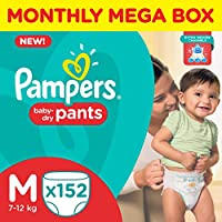 Pampers Medium Size Diaper Pants (152 Count), Monthly Box Pack