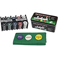 Set da Poker 200 fiches con Valore in Euro 2 mazzi di Carte Panno Verde gettone Dealer Big Blind Small Blind Gioco Texas Hold'em in Confezione Scatola