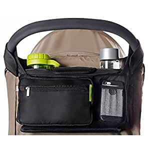 BEST STROLLER ORGANISER for Smart Moms, Fits All Pushchairs, Premium Deep Cup Holders, Extra-Large Storage Space for iPhones, Wallets, Diapers, Books, Toys, iPads, The Perfect Baby Shower Gift!