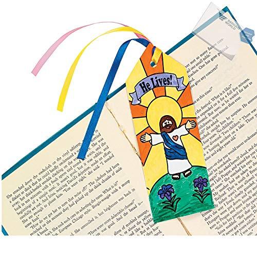 Bargain World Färben Sie Ihre eigenen He Lives! Lesezeichen (mit Haftnotizen) 480 Dozen (5760 Pieces)
