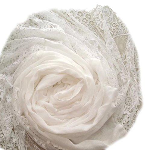 LadyMYP 90cmX190cm Einfarbiger Schal Stola aus Baumwolle und Hochwertiger Spitze, mehrere Farben zur Wahl (Weiß)