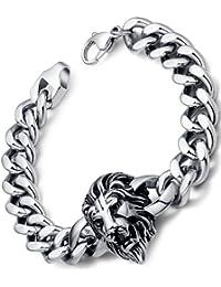 "Stainless Steel Men's Biker Lion Curb Chain Link Bracelet 9.25"" G6004QY"