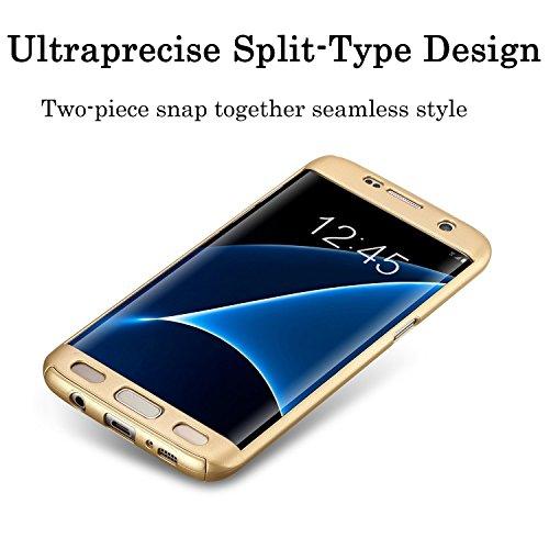 Vanki® Custodia Samsung Galaxy S6 Edge, 360 Gradi della copertura completa 2 in 1 Hard Stilosa PC Case Cover Protettiva Bumper Posteriore per Galaxy S6 Edge Oro