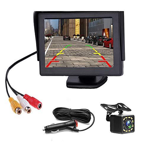 Rückfahrkamera - 4,3-Zoll-Monitor-Kit mit einem Netzteil und 12 LED-Rückfahrkameras für PKW, SUV, Lieferwagen, Pickups und LKW