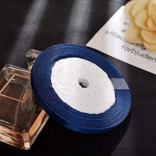 TianranRT 25YD Satin Band 6mm Multi Basteln Hochzeit Liefert Blume Stoff Party (Dunkelblau)