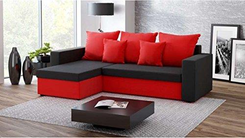 Justhome fresh ii divano angolare divano letto microfibra (lxlxa): 142x237x75 cm nero rosso penisola a sinistra
