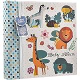 Album per foto, per 200 foto da 10 x 15 cm, motivo: animaletti della foresta, con spazio per note, colore: Azzurro