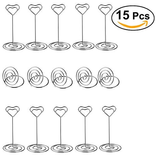 ULTNICE 15 Pcs Herz Swirl Form Memo Clip Foto Clip Tabelle Zahl Halter Name Kartenhalter Tischhalter für Hochzeit Bankett