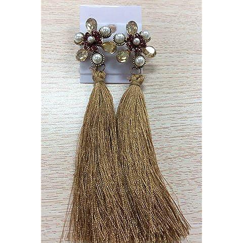Retro perla di Faux Floral nappe orecchini, orecchini della perla floreale per le donne, le ragazze