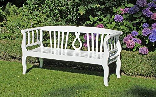 VARILANDO Gartenbank 'Arkadia' aus weiß lackiertem Eukalyptus als 3-Sitzer Sitzbank Holzbank Schweden-Look