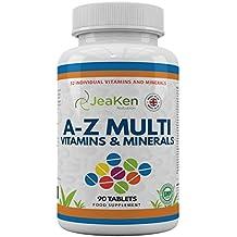 MULTIVITAMINAS Y MINERALES A-Z Por JeaKen - 90 tabletas de 32 vitaminas y minerales múltiples -