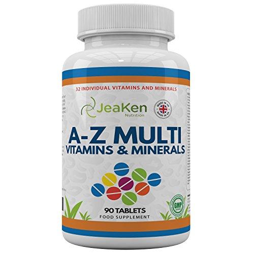 MULTIVITAMINAS Y MINERALES A-Z Por JeaKen - 90 tabletas de 32 vitaminas y minerales múltiples - Superar su...