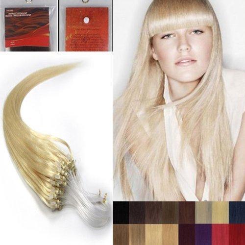 40.6cm Lisse Boucles Micro Anneau Perles Pointu Cheveux Humains Extensions 100S 60 Platine Blonde Femmes beauté Hairsalon Style Motif 0,4 g/s