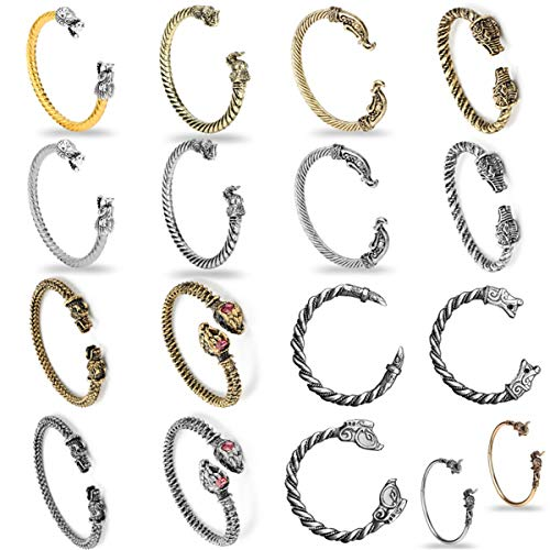 Armband Armreif, Schmuckgeschenk,17 Styke Viking Bracelet Wolf Head Dragon Screw Nail Bangle Open Bracelet Gothic Knot Cuff Bracelet Men Wristband Jewelry 182G