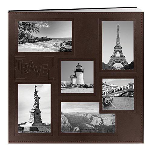 Pioneer Foto Alben EZ Laden Memory Album–12x 12–20TOP Seiten–geprägt genäht Kunstleder Collage Rahmen–Reisen–Braun, 12x12 Pioneer Fotoalben
