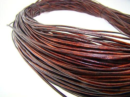 esnado - Lederschnur Rund 1,5 mm. Antik Braun - 5 Meter (Leder Antik)