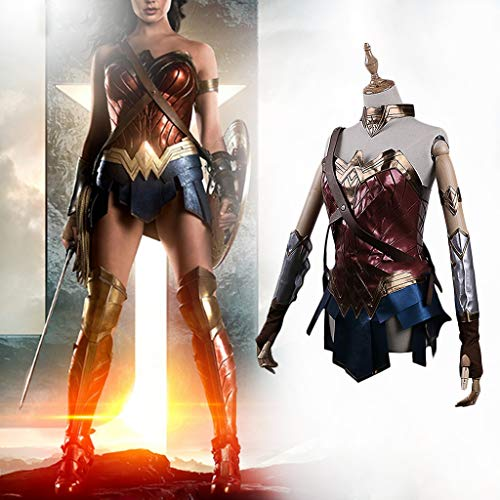 Woman Kostüm Wonder Shorts - K-Flame Damen Cosplay Kostüm Halloween Wonder Woman Battleframe Rock Outfit Damen COS Kostüm für Damen Kleidung Party,Red,L
