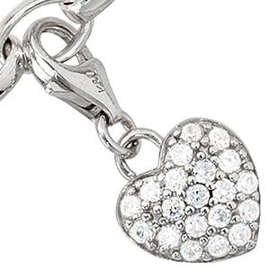 Charms Anhänger für Bettelarmband Herz mit Zirkoniasteinen weiß 925/- Sterling Silber Ø 11 x 10 mm