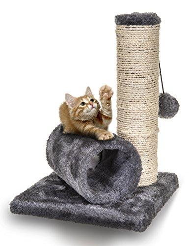 Sisal-Kratzbaum für kleine Kätzchen von Fineway, mit Tunnel & einer Maus zum Spielen -