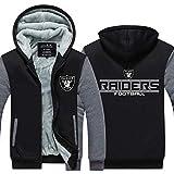 Jacket Männer Kapuzen Langarm NFL Oakland Raiders Football Sport Warm Stitching Langarm Zipjacke Rugby